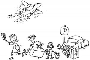 Karikatur Webdesign Flughafen Familie