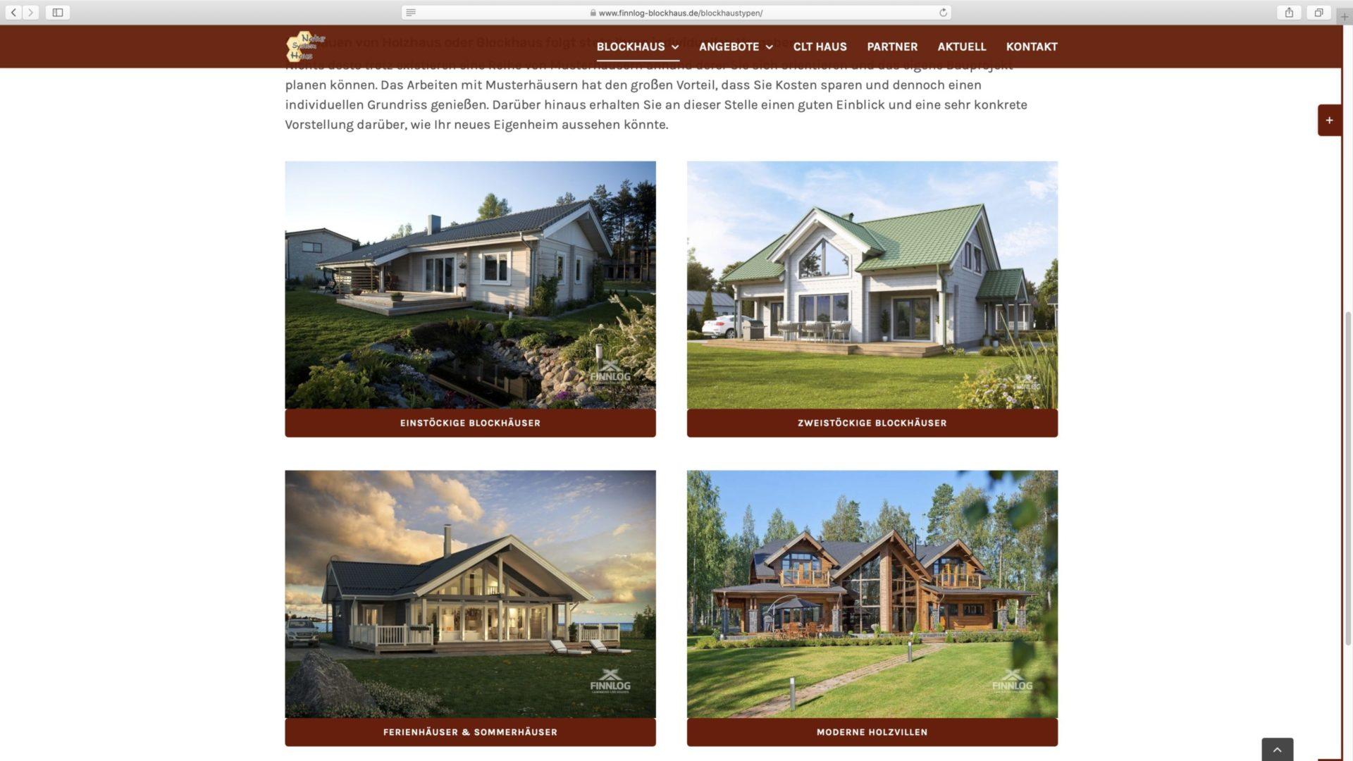 Webdesign Finnlog Blockhaus Typen